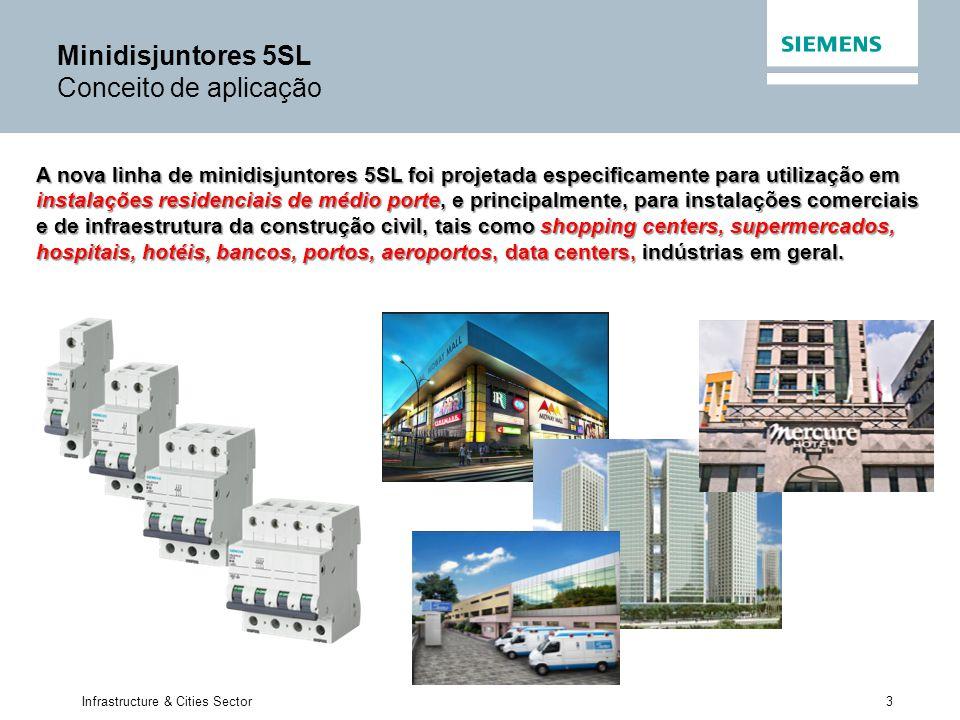 3 Infrastructure & Cities Sector A nova linha de minidisjuntores 5SL foi projetada especificamente para utilização em instalações residenciais de médi