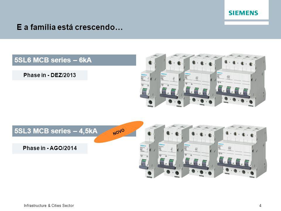 4 Infrastructure & Cities Sector E a família está crescendo… 5SL3 MCB series – 4,5kA 5SL6 MCB series – 6kA NOVO Phase in - DEZ/2013 Phase in - AGO/201