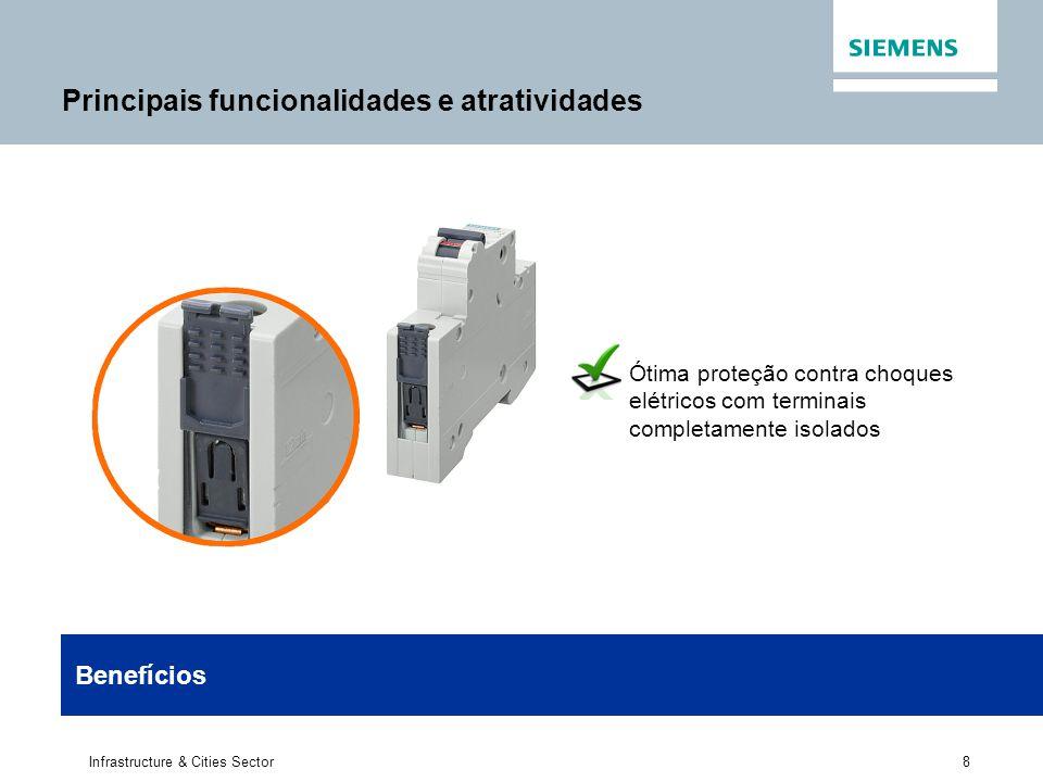 8 Infrastructure & Cities Sector Ótima proteção contra choques elétricos com terminais completamente isolados Benefícios Principais funcionalidades e