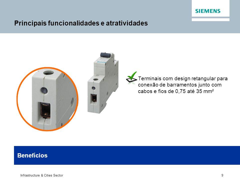 9 Infrastructure & Cities Sector Terminais com design retangular para conexão de barramentos junto com cabos e fios de 0,75 até 35 mm² Benefícios Prin