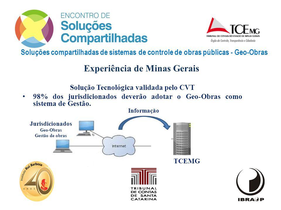 Soluções compartilhadas de sistemas de controle de obras públicas - Geo-Obras Solução Tecnológica validada pelo CVT 98% dos jurisdicionados deverão ad