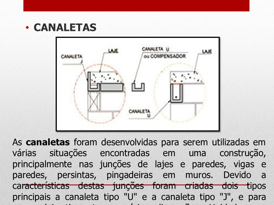 CANALETAS As canaletas foram desenvolvidas para serem utilizadas em várias situações encontradas em uma construção, principalmente nas junções de laje