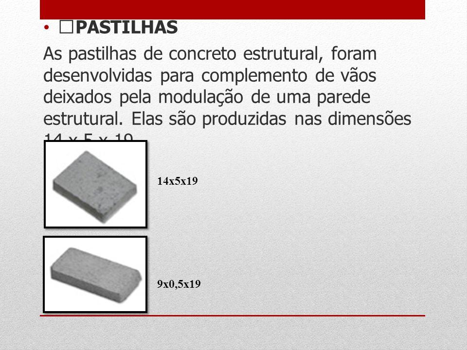 PASTILHAS As pastilhas de concreto estrutural, foram desenvolvidas para complemento de vãos deixados pela modulação de uma parede estrutural. Elas são