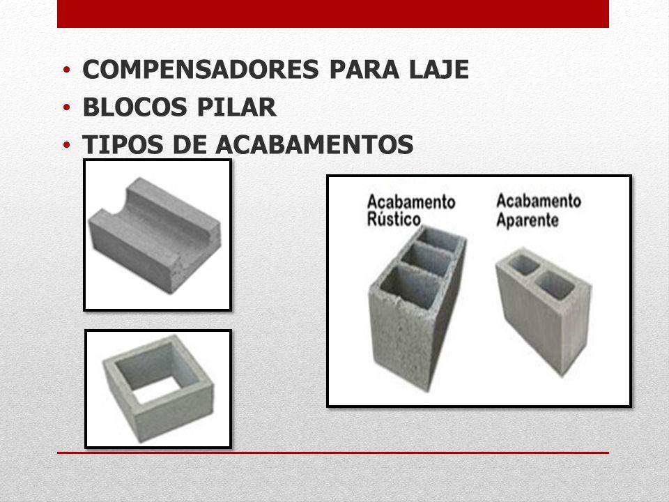 COMPENSADORES PARA LAJE BLOCOS PILAR TIPOS DE ACABAMENTOS