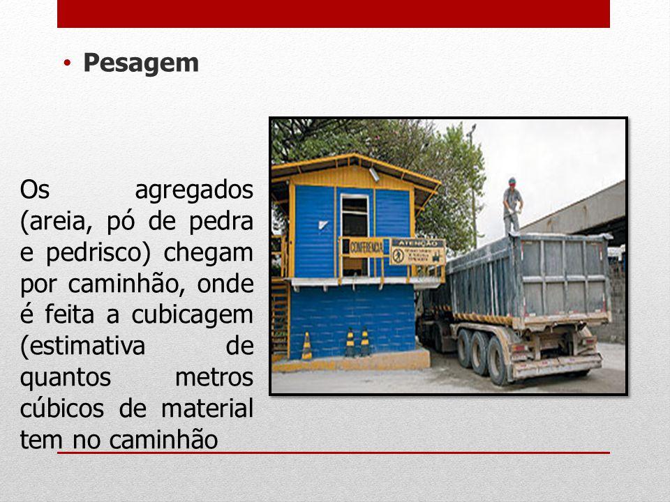 Pesagem Os agregados (areia, pó de pedra e pedrisco) chegam por caminhão, onde é feita a cubicagem (estimativa de quantos metros cúbicos de material t