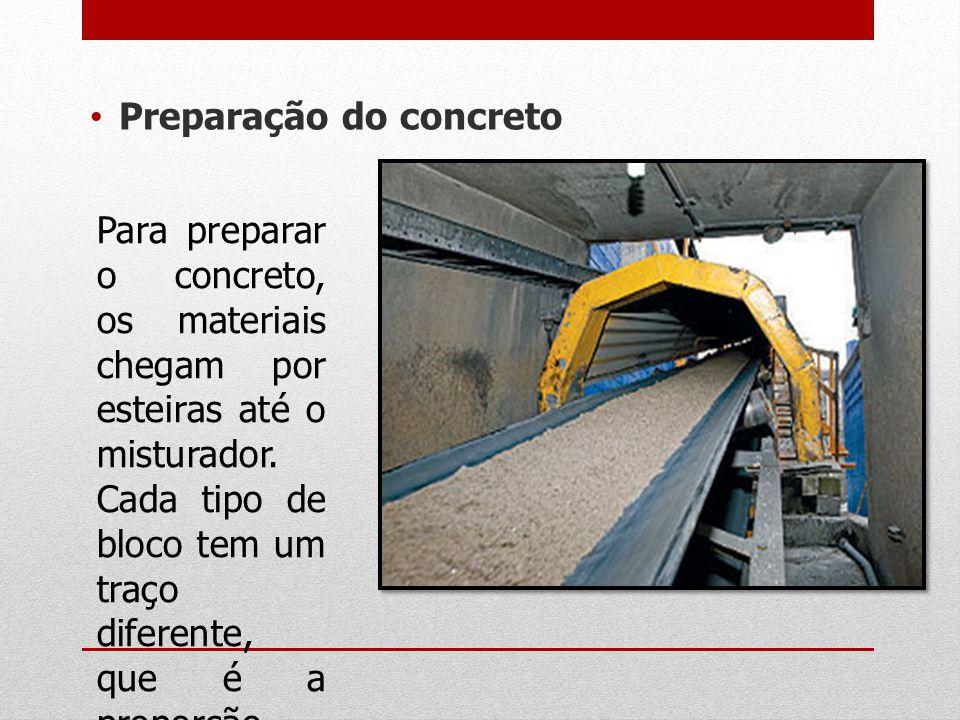 Preparação do concreto Para preparar o concreto, os materiais chegam por esteiras até o misturador. Cada tipo de bloco tem um traço diferente, que é a