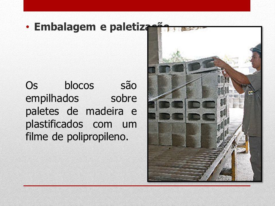 Embalagem e paletização Os blocos são empilhados sobre paletes de madeira e plastificados com um filme de polipropileno.