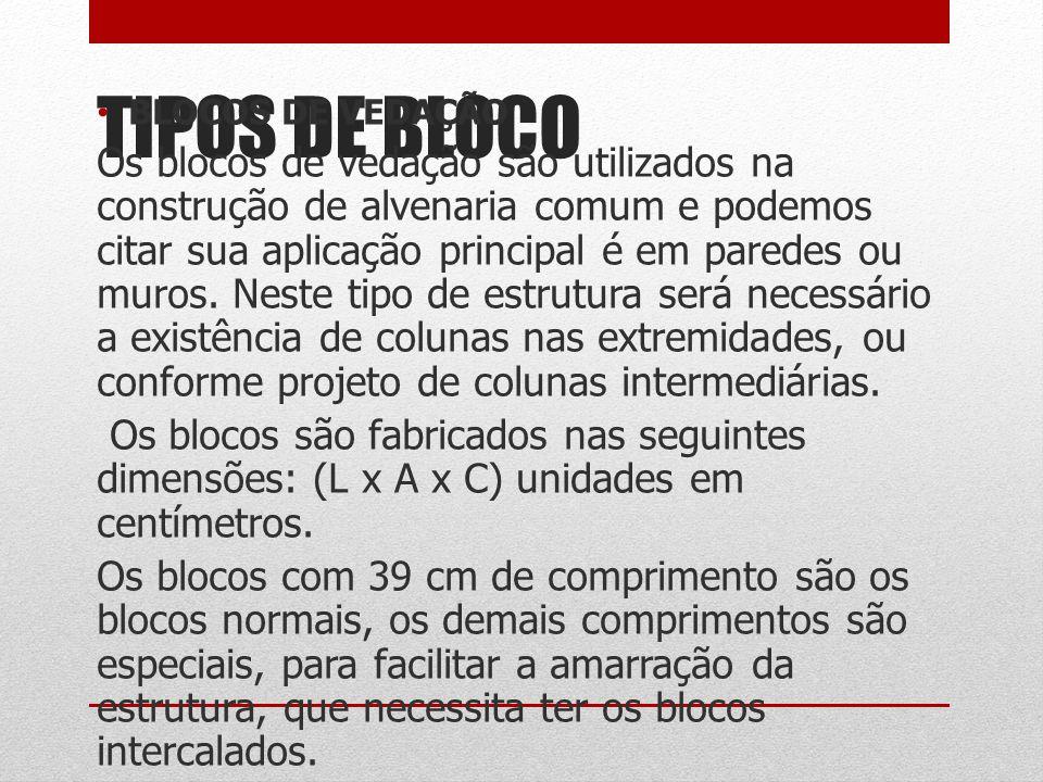 TIPOS DE BLOCO BLOCOS DE VEDAÇÃO Os blocos de vedação são utilizados na construção de alvenaria comum e podemos citar sua aplicação principal é em par