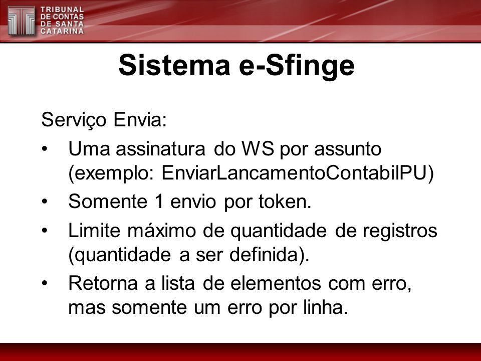 Serviço Envia: Uma assinatura do WS por assunto (exemplo: EnviarLancamentoContabilPU) Somente 1 envio por token. Limite máximo de quantidade de regist