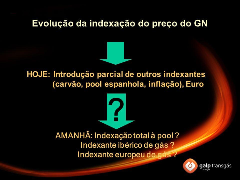 ONTEM: Indexação a produtos petrolíferos, preço em USD HOJE: Introdução parcial de outros indexantes (carvão, pool espanhola, inflação), Euro AMANHÃ: Indexação total à pool .