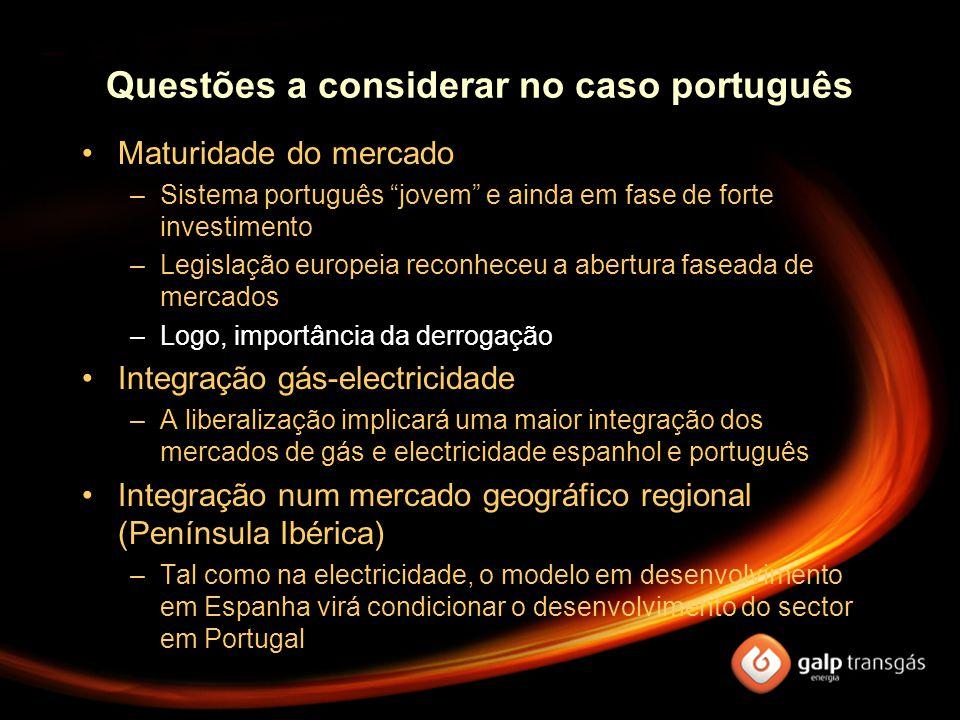 """Questões a considerar no caso português Maturidade do mercado –Sistema português """"jovem"""" e ainda em fase de forte investimento –Legislação europeia re"""