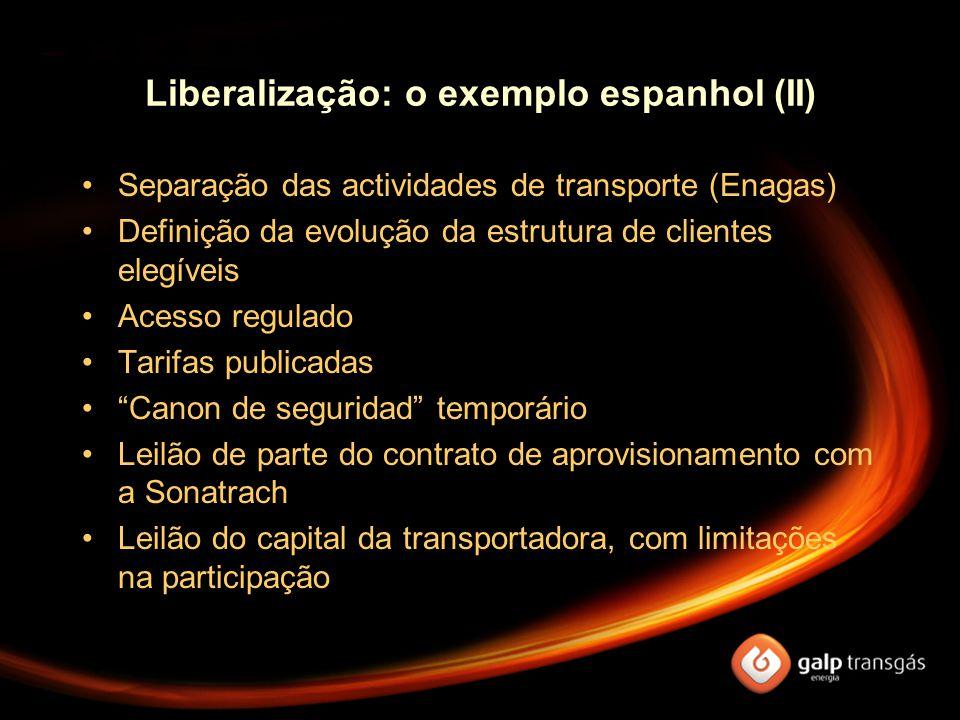 Liberalização: o exemplo espanhol (II) Separação das actividades de transporte (Enagas) Definição da evolução da estrutura de clientes elegíveis Acess