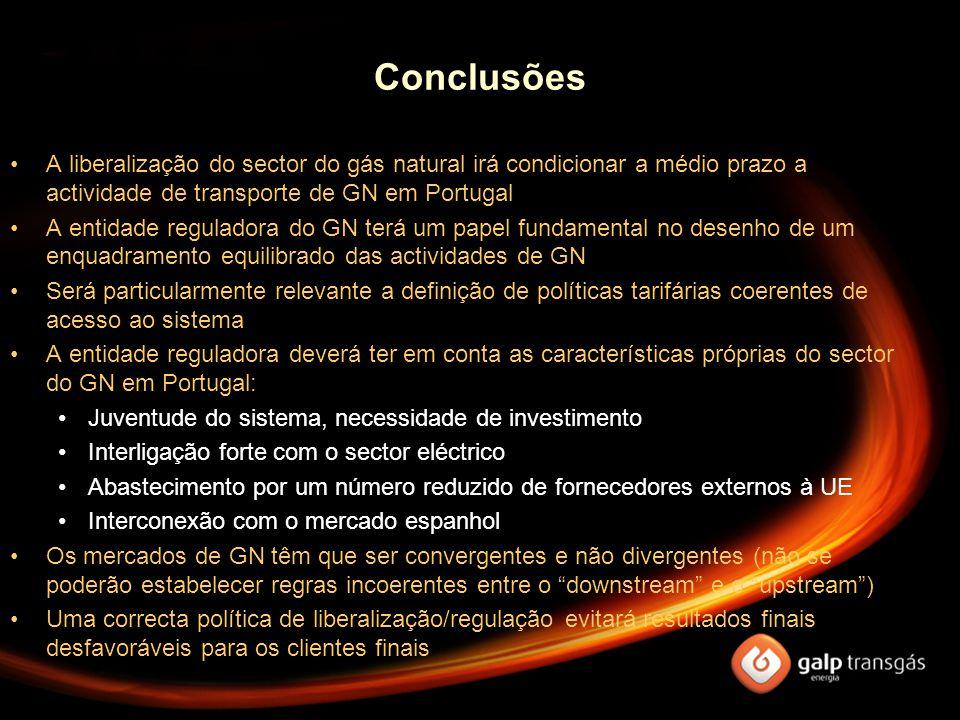 Conclusões A liberalização do sector do gás natural irá condicionar a médio prazo a actividade de transporte de GN em Portugal A entidade reguladora d
