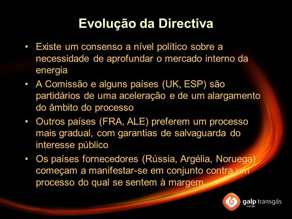 Evolução da Directiva Existe um consenso a nível político sobre a necessidade de aprofundar o mercado interno da energia A Comissão e alguns países (U