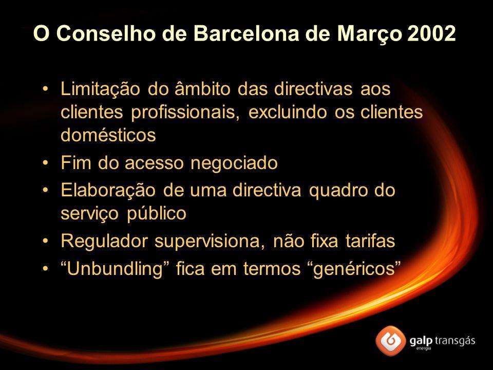 O Conselho de Barcelona de Março 2002 Limitação do âmbito das directivas aos clientes profissionais, excluindo os clientes domésticos Fim do acesso negociado Elaboração de uma directiva quadro do serviço público Regulador supervisiona, não fixa tarifas Unbundling fica em termos genéricos
