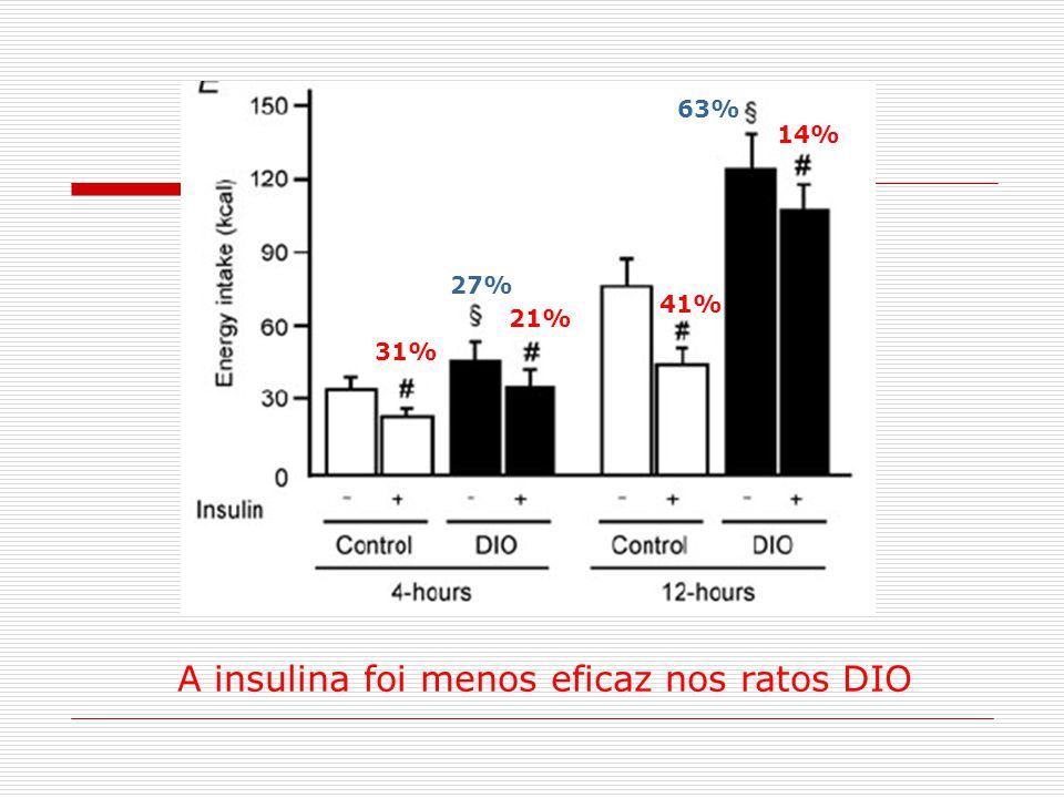 A insulina foi menos eficaz nos ratos DIO 31% 41% 21% 14% 27% 63% 31% 41%
