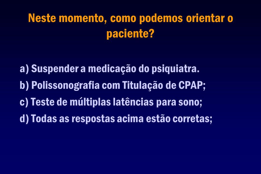 Neste momento, como podemos orientar o paciente? a) Suspender a medicação do psiquiatra. b) Polissonografia com Titulação de CPAP; c) Teste de múltipl
