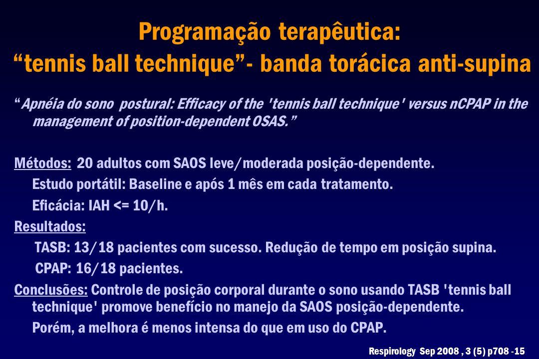 """Programação terapêutica: """"tennis ball technique""""- banda torácica anti-supina """"Apnéia do sono postural: Efficacy of the 'tennis ball technique' versus"""
