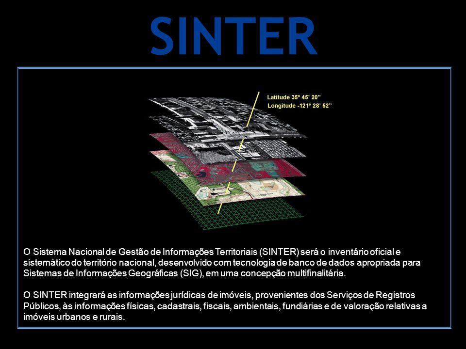 SINTER O Sistema Nacional de Gestão de Informações Territoriais (SINTER) será o inventário oficial e sistemático do território nacional, desenvolvido