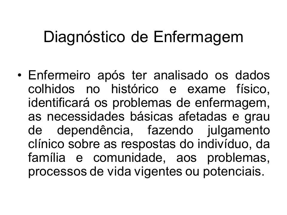 Diagnóstico de Enfermagem Enfermeiro após ter analisado os dados colhidos no histórico e exame físico, identificará os problemas de enfermagem, as nec