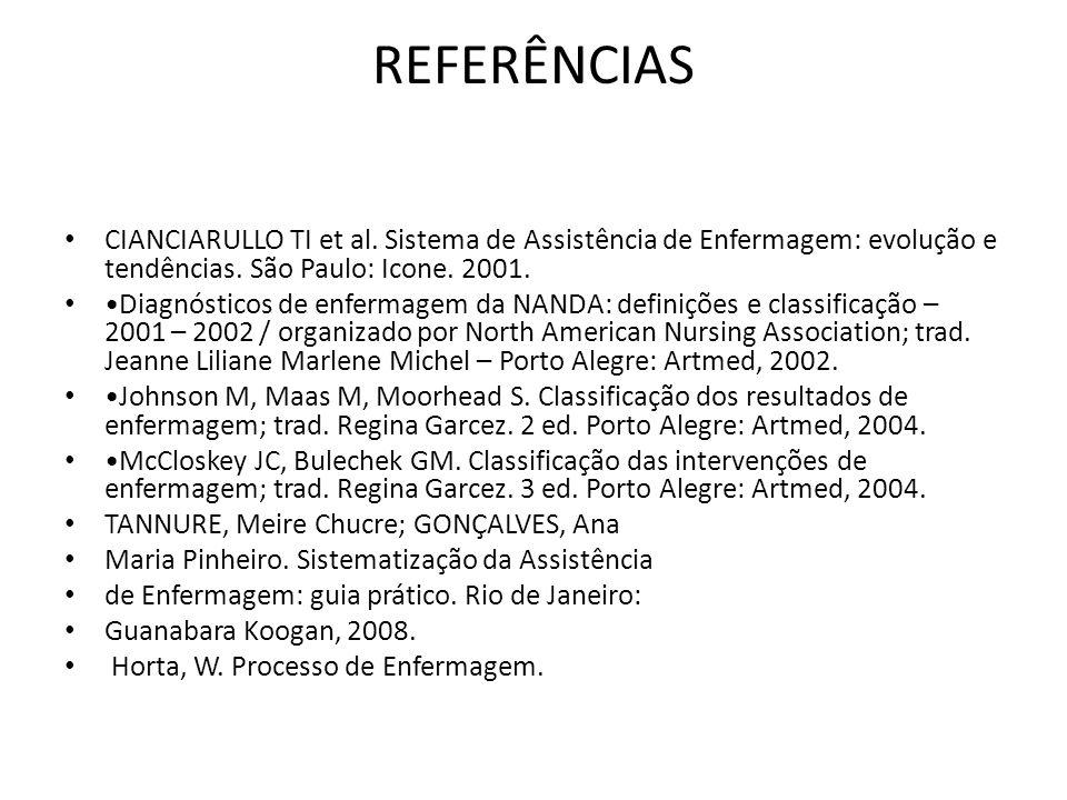 REFERÊNCIAS CIANCIARULLO TI et al. Sistema de Assistência de Enfermagem: evolução e tendências. São Paulo: Icone. 2001. Diagnósticos de enfermagem da