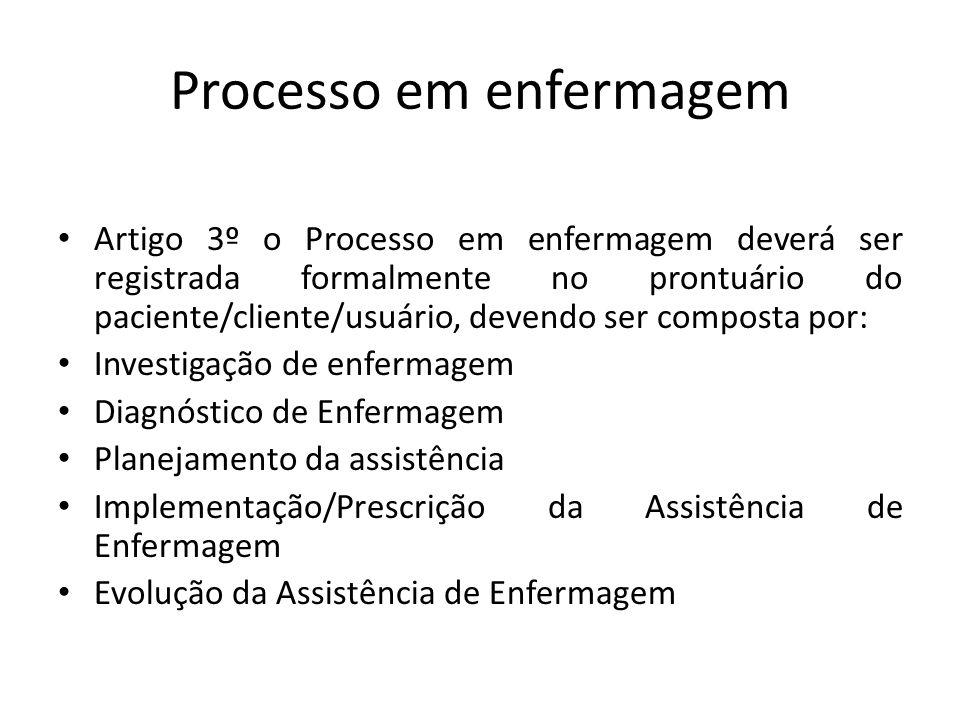 Processo em enfermagem Artigo 3º o Processo em enfermagem deverá ser registrada formalmente no prontuário do paciente/cliente/usuário, devendo ser com