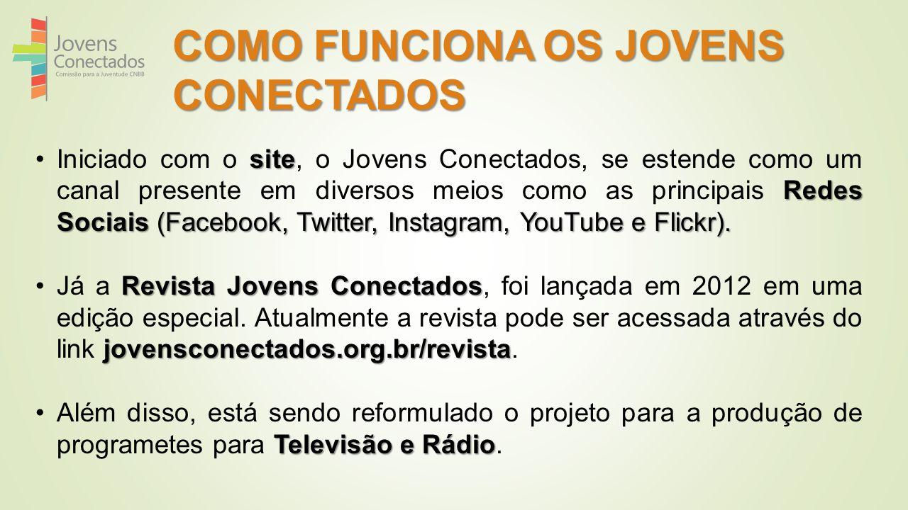COMO FUNCIONA OS JOVENS CONECTADOS site Redes Sociais (Facebook, Twitter, Instagram, YouTube e Flickr).Iniciado com o site, o Jovens Conectados, se estende como um canal presente em diversos meios como as principais Redes Sociais (Facebook, Twitter, Instagram, YouTube e Flickr).