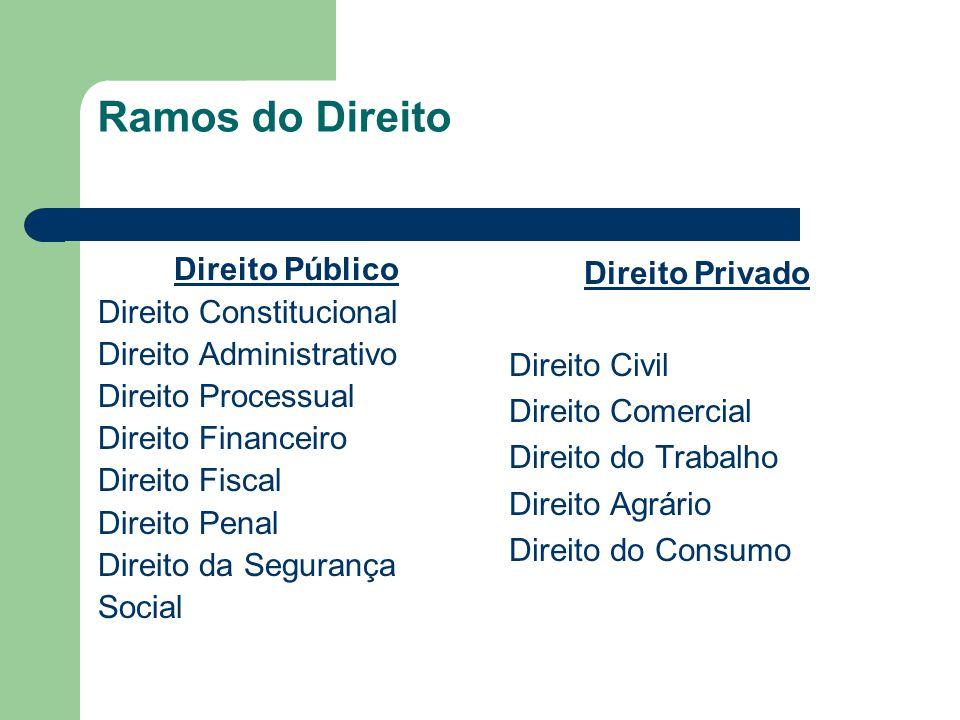 Ramos do Direito Direito Público Direito Constitucional Direito Administrativo Direito Processual Direito Financeiro Direito Fiscal Direito Penal Dire