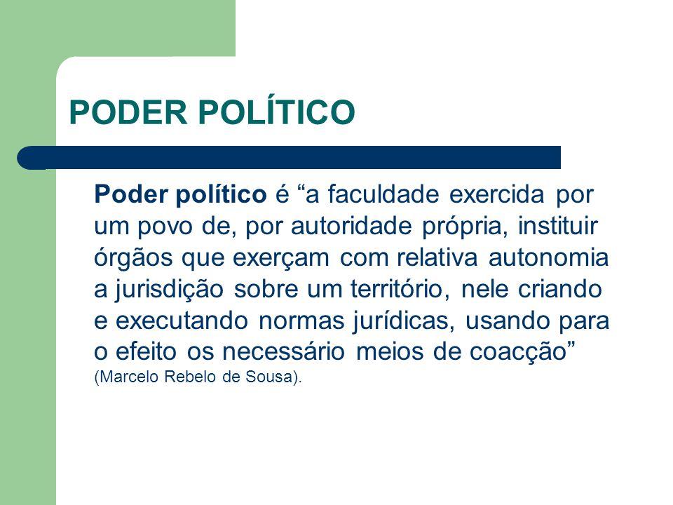 PODER POLÍTICO Poder político é a faculdade exercida por um povo de, por autoridade própria, instituir órgãos que exerçam com relativa autonomia a jurisdição sobre um território, nele criando e executando normas jurídicas, usando para o efeito os necessário meios de coacção (Marcelo Rebelo de Sousa).