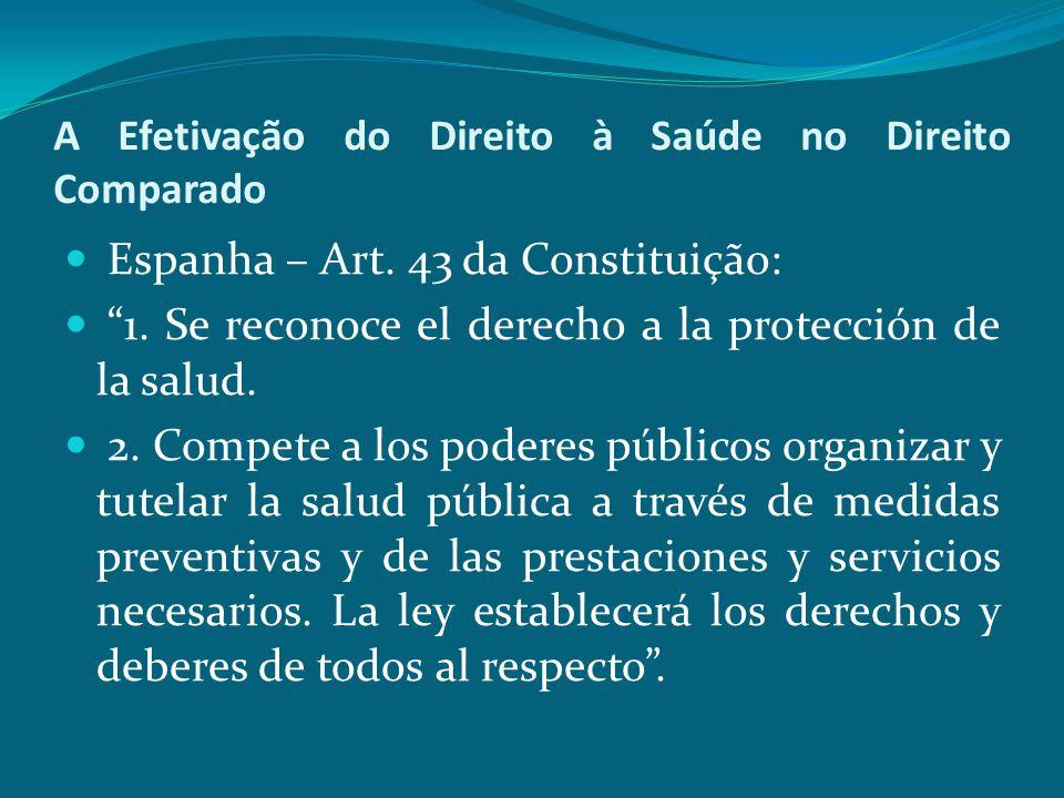 """A Efetivação do Direito à Saúde no Direito Comparado Espanha – Art. 43 da Constituição: """"1. Se reconoce el derecho a la protección de la salud. 2. Com"""