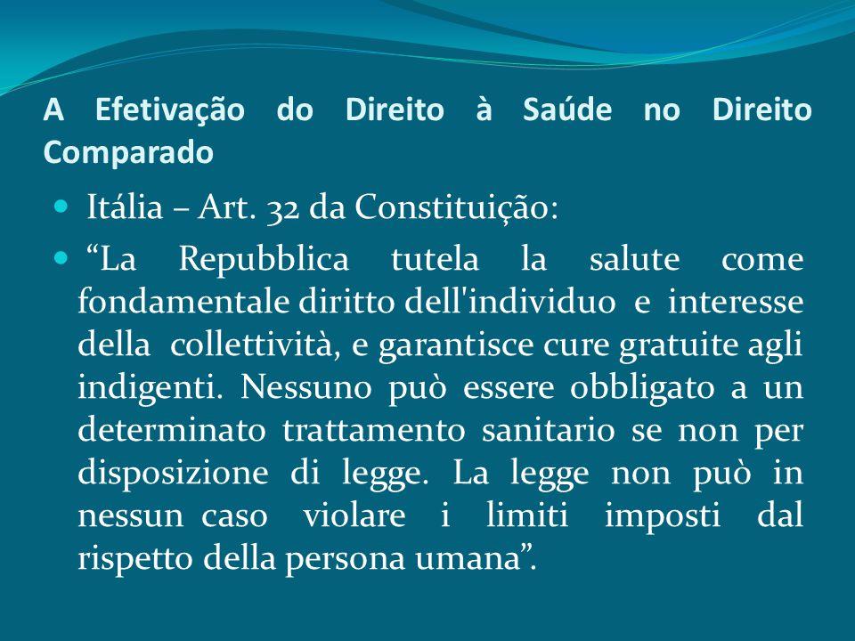 """A Efetivação do Direito à Saúde no Direito Comparado Itália – Art. 32 da Constituição: """"La Repubblica tutela la salute come fondamentale diritto dell'"""