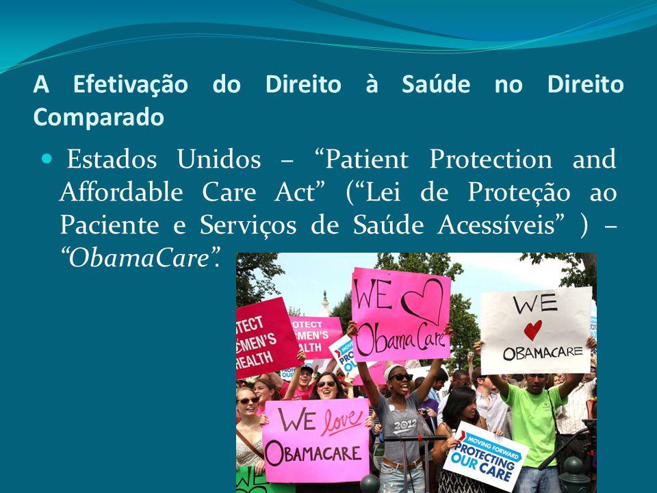 """A Efetivação do Direito à Saúde no Direito Comparado Estados Unidos – """"Patient Protection and Affordable Care Act"""" (""""Lei de Proteção ao Paciente e Ser"""