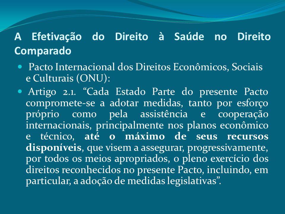 """A Efetivação do Direito à Saúde no Direito Comparado Pacto Internacional dos Direitos Econômicos, Sociais e Culturais (ONU): Artigo 2.1. """"Cada Estado"""