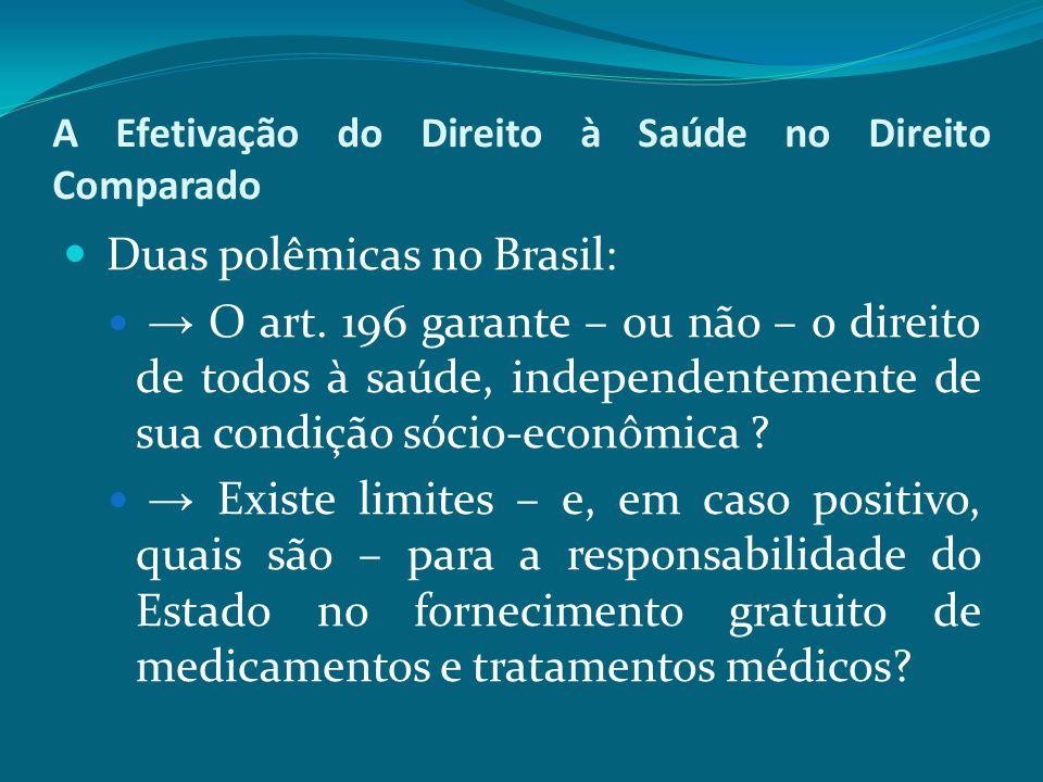 A Efetivação do Direito à Saúde no Direito Comparado Duas polêmicas no Brasil: → O art. 196 garante – ou não – o direito de todos à saúde, independent