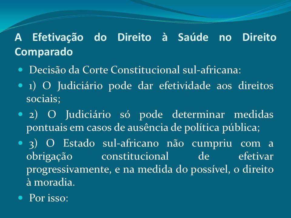 A Efetivação do Direito à Saúde no Direito Comparado Decisão da Corte Constitucional sul-africana: 1) O Judiciário pode dar efetividade aos direitos s