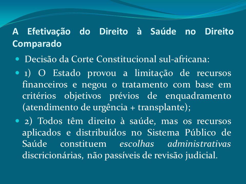 A Efetivação do Direito à Saúde no Direito Comparado Decisão da Corte Constitucional sul-africana: 1) O Estado provou a limitação de recursos financei