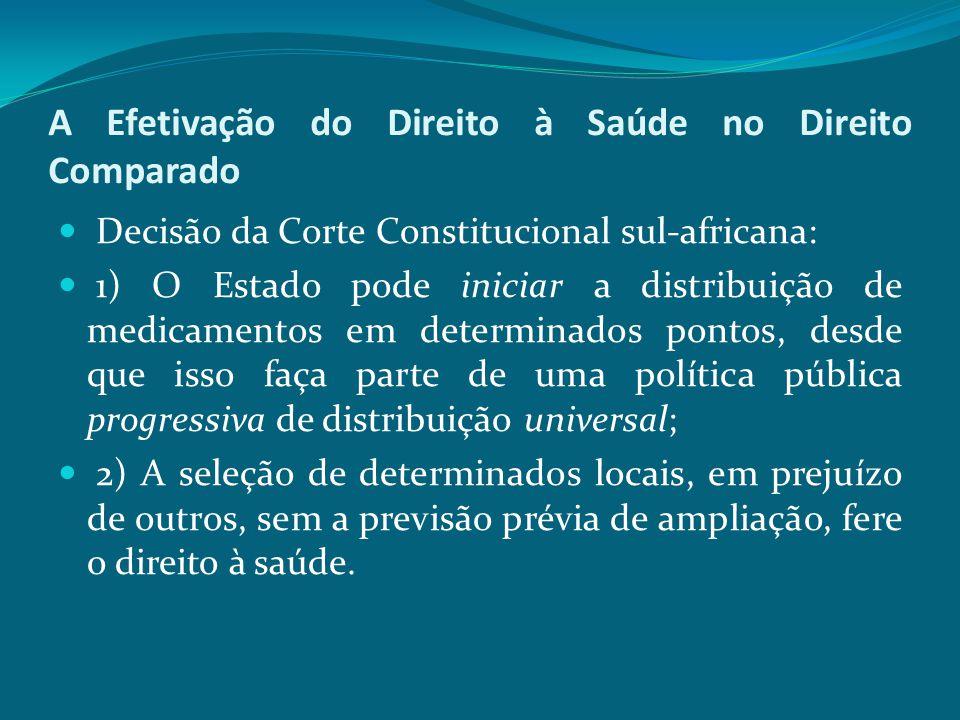 A Efetivação do Direito à Saúde no Direito Comparado Decisão da Corte Constitucional sul-africana: 1) O Estado pode iniciar a distribuição de medicame