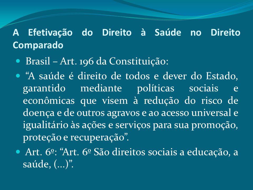 """A Efetivação do Direito à Saúde no Direito Comparado Brasil – Art. 196 da Constituição: """"A saúde é direito de todos e dever do Estado, garantido media"""