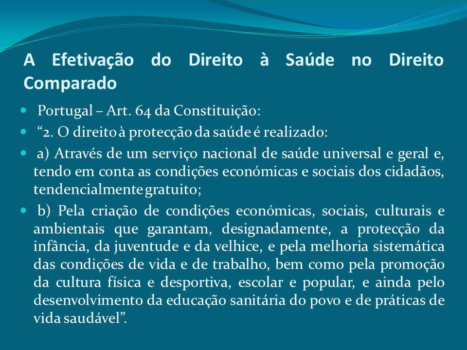"""A Efetivação do Direito à Saúde no Direito Comparado Portugal – Art. 64 da Constituição: """"2. O direito à protecção da saúde é realizado: a) Através de"""