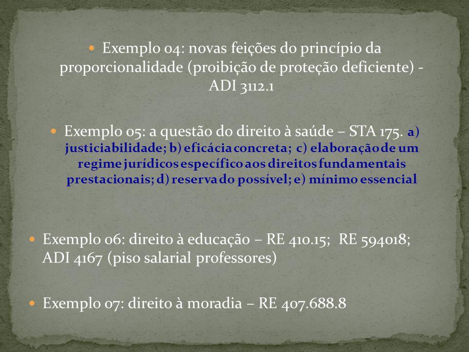 Exemplo 04: novas feições do princípio da proporcionalidade (proibição de proteção deficiente) - ADI 3112.1 Exemplo 05: a questão do direito à saúde – STA 175.