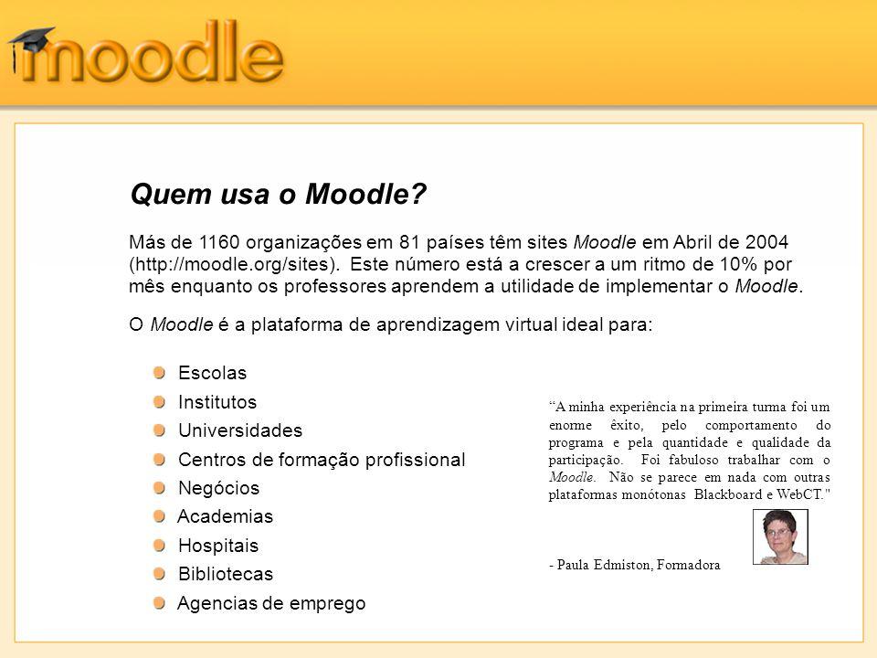 Más de 1160 organizações em 81 países têm sites Moodle em Abril de 2004 (http://moodle.org/sites). Este número está a crescer a um ritmo de 10% por mê