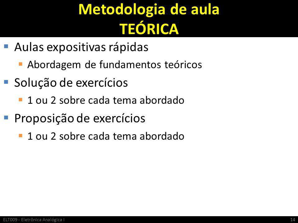 Metodologia de aula TEÓRICA  Aulas expositivas rápidas  Abordagem de fundamentos teóricos  Solução de exercícios  1 ou 2 sobre cada tema abordado