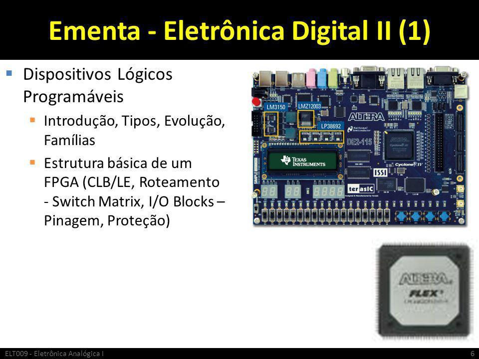 Ementa - Eletrônica Digital II (1)  Dispositivos Lógicos Programáveis  Introdução, Tipos, Evolução, Famílias  Estrutura básica de um FPGA (CLB/LE,