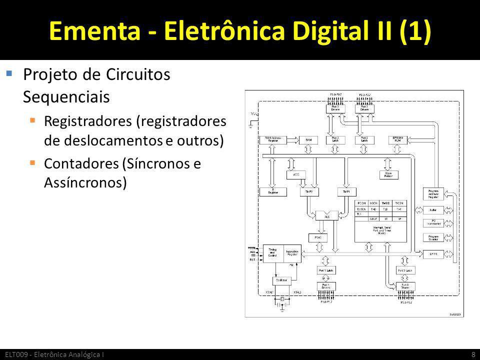 Ementa - Eletrônica Digital II (1)  Projeto de Circuitos Sequenciais  Registradores (registradores de deslocamentos e outros)  Contadores (Síncrono