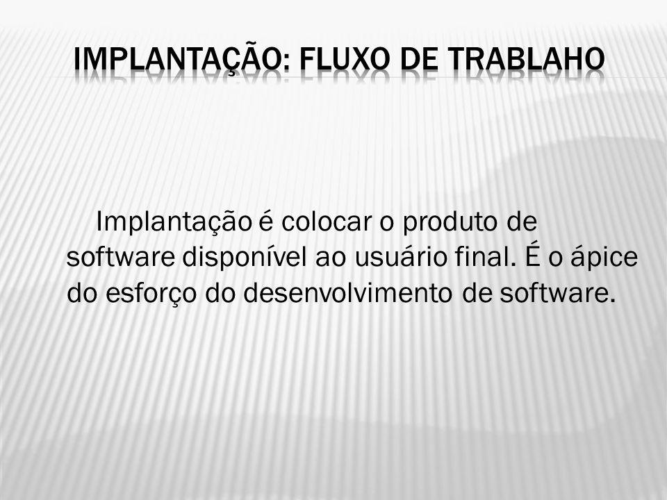 Implantação é colocar o produto de software disponível ao usuário final. É o ápice do esforço do desenvolvimento de software.