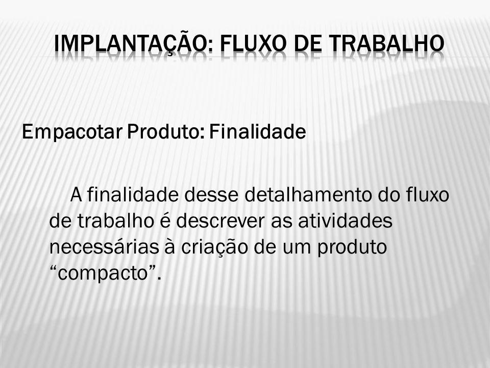 """Empacotar Produto: Finalidade A finalidade desse detalhamento do fluxo de trabalho é descrever as atividades necessárias à criação de um produto """"comp"""