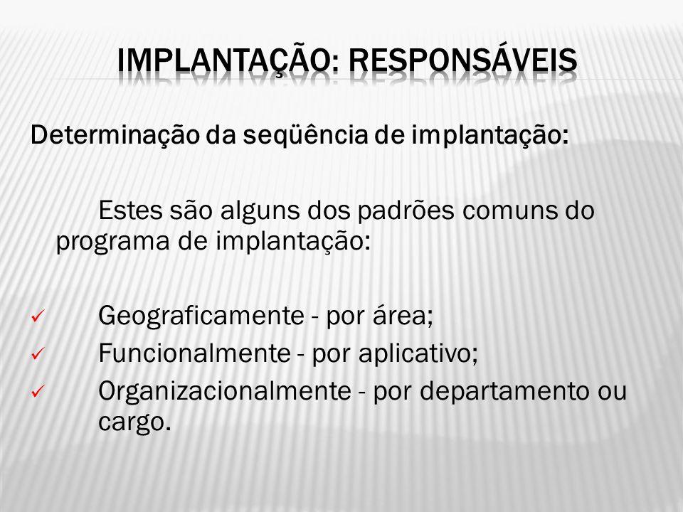 Determinação da seqüência de implantação: Estes são alguns dos padrões comuns do programa de implantação: Geograficamente - por área; Funcionalmente -