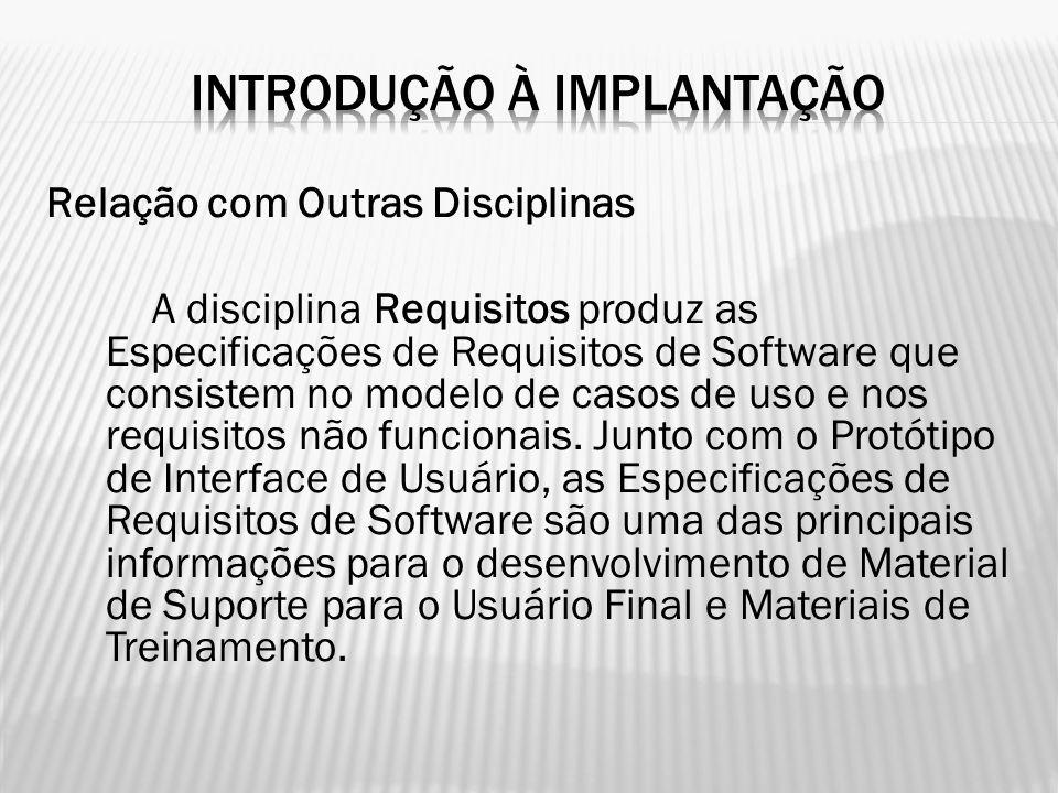 Relação com Outras Disciplinas A disciplina Requisitos produz as Especificações de Requisitos de Software que consistem no modelo de casos de uso e no