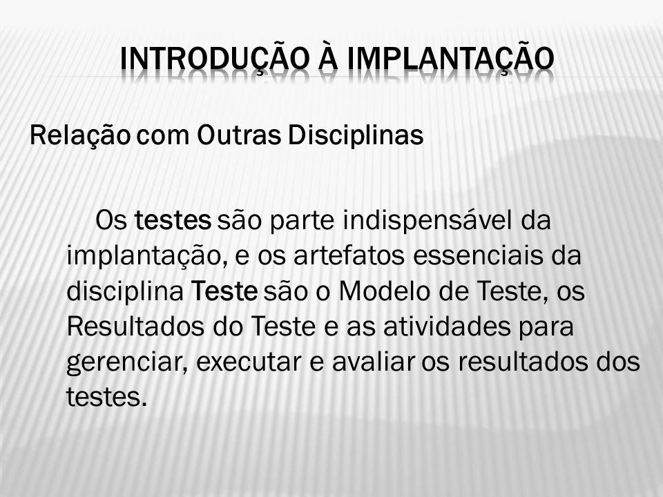 Relação com Outras Disciplinas Os testes são parte indispensável da implantação, e os artefatos essenciais da disciplina Teste são o Modelo de Teste,