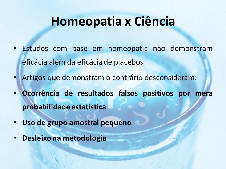 Homeopatia x Ciência Estudos com base em homeopatia não demonstram eficácia além da eficácia de placebos Artigos que demonstram o contrário desconsideram: Ocorrência de resultados falsos positivos por mera probabilidade estatística Uso de grupo amostral pequeno Desleixo na metodologia